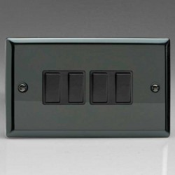 Varilight Classic Iridium Black 4 Gang 10A 2 Way Switch with Black Insert
