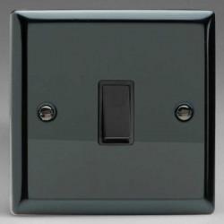 Varilight Classic Iridium Black 1 Gang 10A Retractive Switch with Black Insert