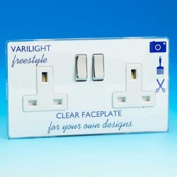 Varilight Freestyle 2 Gang 13A DP Switched Socket with White Insert