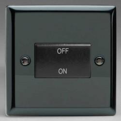 Varilight Classic Iridium Black 10A 3 Pole Fan Isolating Switch with Black Insert