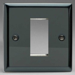 Varilight Classic Iridium Black 1 Gang Single Aperture DataGrid Faceplate