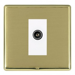 Hamilton Linea-Rondo CFX Polished Brass/Satin Brass 1 Gang TV (Female) with White Insert