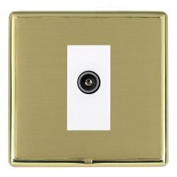Hamilton Linea-Rondo CFX Polished Brass/Satin Brass 1 Gang TV (Female) with White Insert