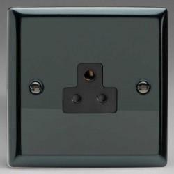 Varilight Classic Iridium Black 1 Gang 2A Round Pin Socket with Black Insert