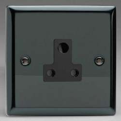 Varilight Classic Iridium Black 1 Gang 5A Round Pin Socket with Black Insert