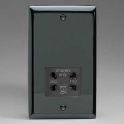 Varilight Classic Iridium Black Dual Voltage Shaver Socket with Black Insert