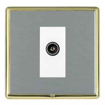 Hamilton Linea-Rondo CFX Polished Brass/Satin Steel 1 Gang TV (Female) with White Insert