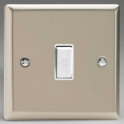 Varilight Classic Satin Chrome 1 Gang 10A 2 Way Switch with White Insert