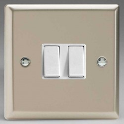 Varilight Classic Satin Chrome 2 Gang 10A 2 Way Switch with White Insert