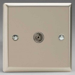 Varilight Classic Satin Chrome 1 Gang Co-Axial TV Socket