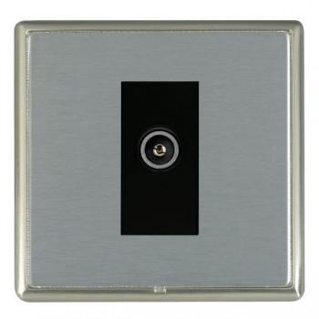 Hamilton Linea-Rondo CFX Satin Nickel/Satin Steel 1 Gang TV (Female) with Black Insert