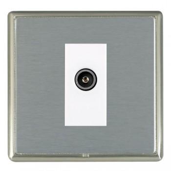 Hamilton Linea-Rondo CFX Satin Nickel/Satin Steel 1 Gang TV (Female) with White Insert