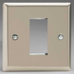 Varilight Classic Satin Chrome 1 Gang Single Aperture DataGrid Faceplate
