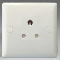 Varilight Classic Polar White 1 Gang 5A Round Pin Socket