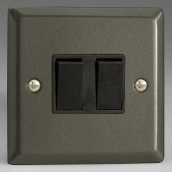 Varilight Classic Graphite 21 2 Gang 10A 2 Way Switch with Black Insert