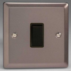 Varilight Classic Pewter Effect 1 Gang 10A 2 Way Switch with Black Insert