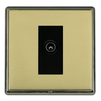 Hamilton Linea-Rondo CFX Black Nickel/Polished Brass 1 Gang TV (Male) with Black Insert