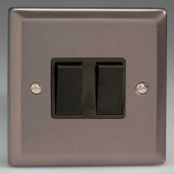 Varilight Classic Pewter Effect 2 Gang 10A 2 Way Switch with Black Insert