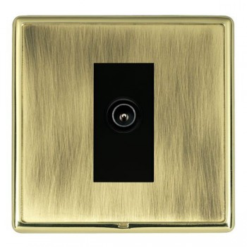 Hamilton Linea-Rondo CFX Polished Brass/Antique Brass 1 Gang TV (Male) with Black Insert