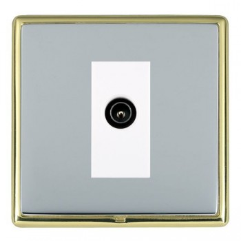 Hamilton Linea-Rondo CFX Polished Brass/Bright Steel 1 Gang TV (Male) with White Insert