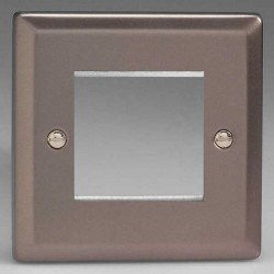 Varilight Classic Pewter Effect 1 Gang Twin Aperture DataGrid Faceplate