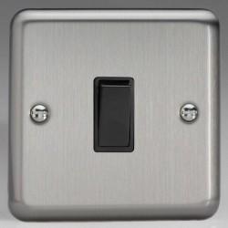 Varilight Classic Matt Chrome 1 Gang 10A 2 Way Switch with Black Insert