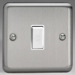 Varilight Classic Matt Chrome 1 Gang 10A 2 Way Switch with White Insert
