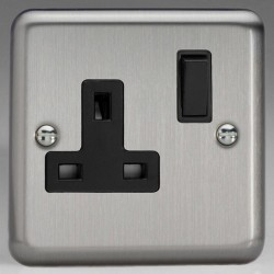 Varilight Classic Matt Chrome 1 Gang 13A DP Switched Socket with Black Switch and Insert