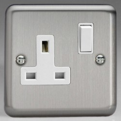 Varilight Classic Matt Chrome 1 Gang 13A DP Switched Socket with White Switch and Insert