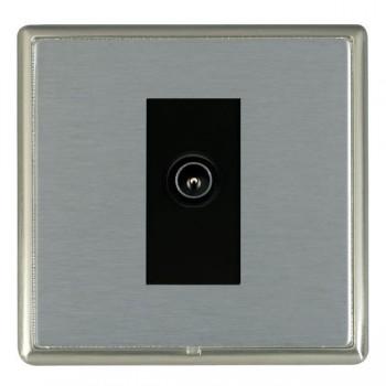 Hamilton Linea-Rondo CFX Satin Nickel/Satin Steel 1 Gang TV (Male) with Black Insert