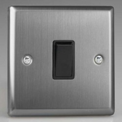 Varilight Classic Brushed Steel 1 Gang 10A 2 Way Switch with Black Insert