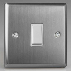Varilight Classic Brushed Steel 1 Gang 10A 2 Way Switch with White Insert