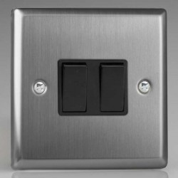 Varilight Classic Brushed Steel 2 Gang 10A 2 Way Switch with Black Insert