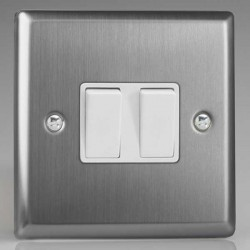 Varilight Classic Brushed Steel 2 Gang 10A 2 Way Switch with White Insert