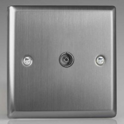 Varilight Classic Brushed Steel 1 Gang Co-Axial TV Socket