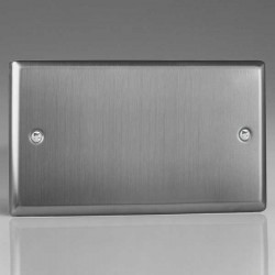 Varilight Classic Brushed Steel 2 Gang Blank Plate