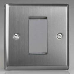 Varilight Classic Brushed Steel 1 Gang Single Aperture DataGrid Faceplate