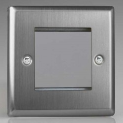 Varilight Classic Brushed Steel 1 Gang Twin Aperture DataGrid Faceplate