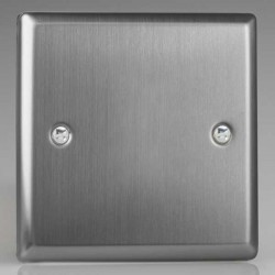 Varilight Classic Brushed Steel 1 Gang Blank Plate