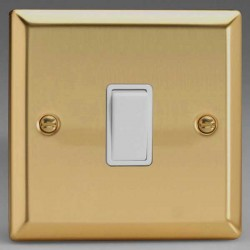Varilight Classic Victorian Brass 1 Gang 10A 2 Way Switch with White Insert