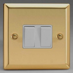 Varilight Classic Victorian Brass 2 Gang 10A 2 Way Switch with White Insert