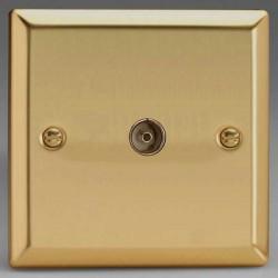 Varilight Classic Victorian Brass 1 Gang Co-Axial TV Socket