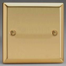 Varilight Classic Victorian Brass 1 Gang Blank Plate