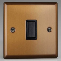 Varilight Urban Brushed Bronze 1 Gang 10A 2 Way Switch with Black Insert