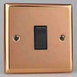 Varilight Urban Polished Copper 1 Gang 10A 2 Way Switch with Black Insert