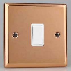 Varilight Urban Polished Copper 1 Gang 10A 2 Way Switch with White Insert
