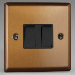 Varilight Urban Brushed Bronze 2 Gang 10A 2 Way Switch with Black Insert