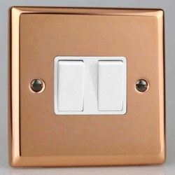 Varilight Urban Polished Copper 2 Gang 10A 2 Way Switch with White Insert
