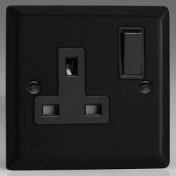 Varilight Urban Matt Black 1 Gang 13A DP Switched Socket with Black Switch and Insert
