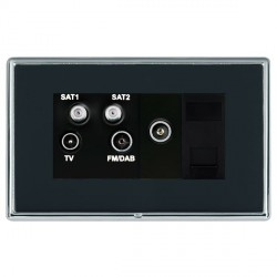 Hamilton Linea-Rondo CFX Bright Chrome/Piano Black TV+FM+SAT+SAT (DAB Compatible)+TV+TCS with Black Insert